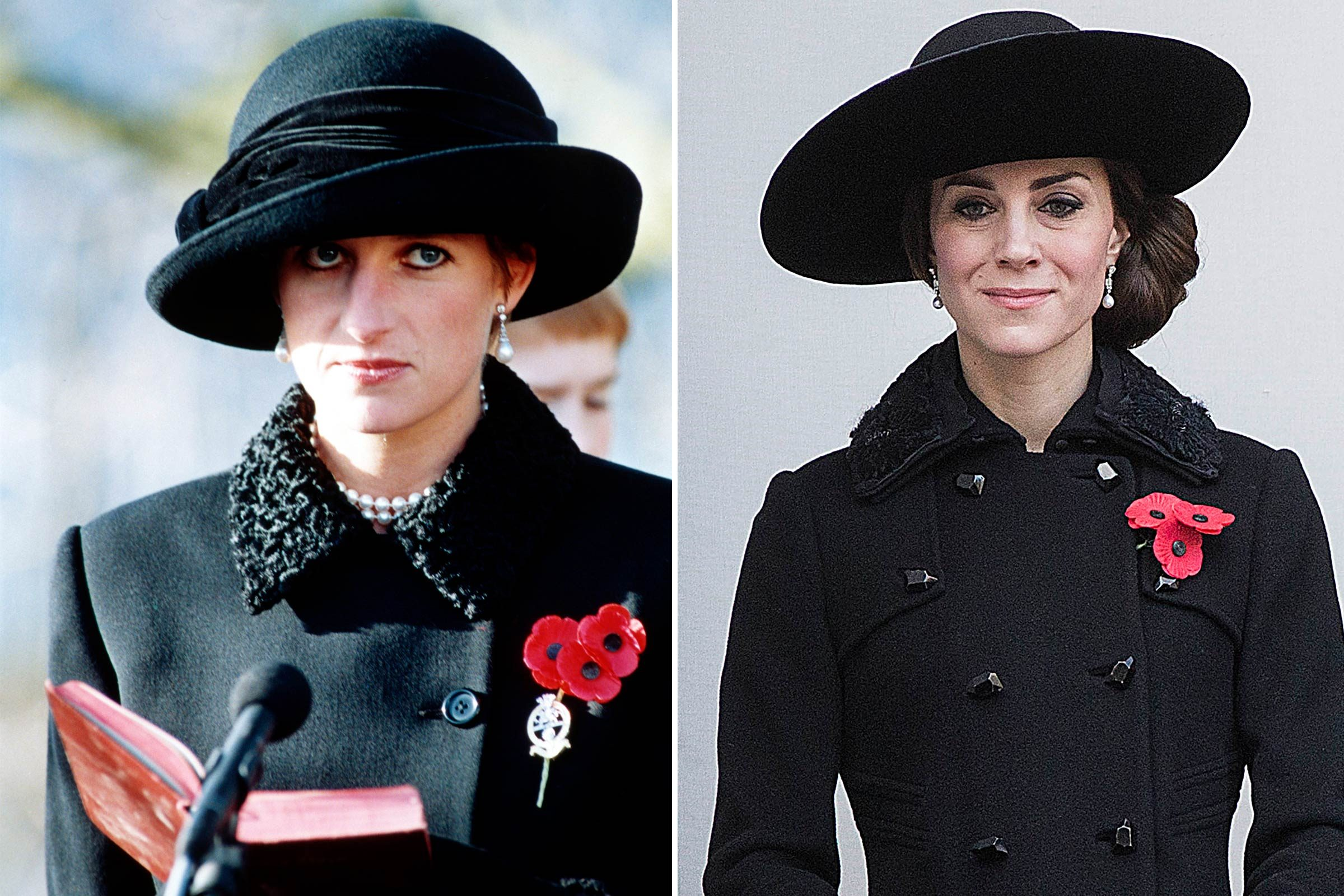 Kate Middleton et la princesse Diana et la mode en noir