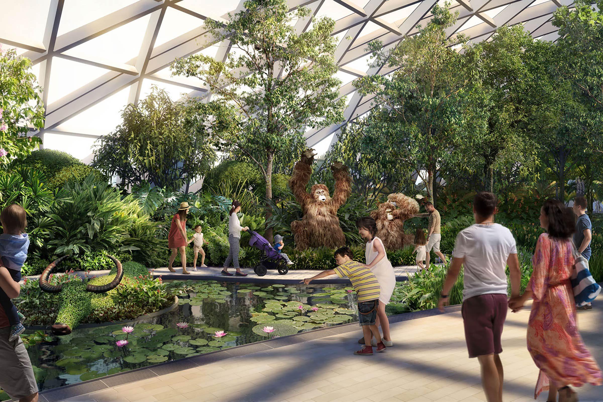 Aéroport Changi: un jardin botanique à l'intérieur