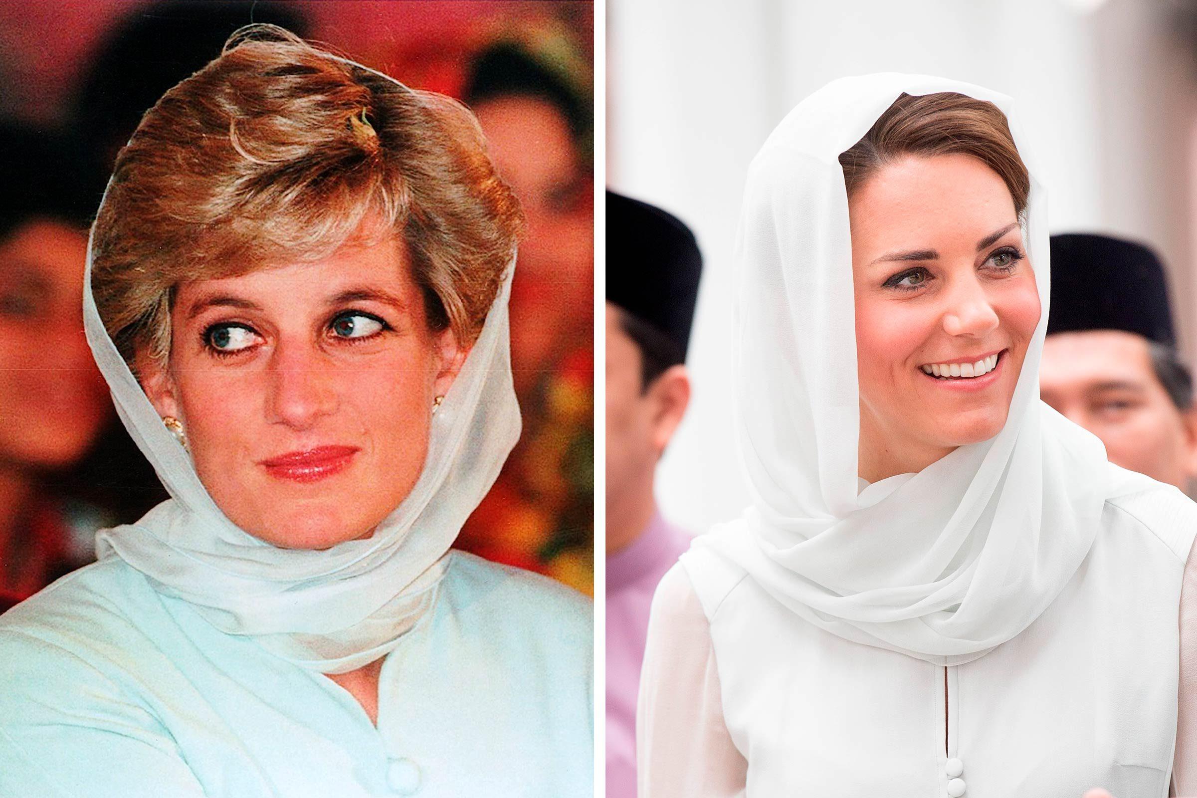 Princesse Diana et Kate Middleton et un foulard