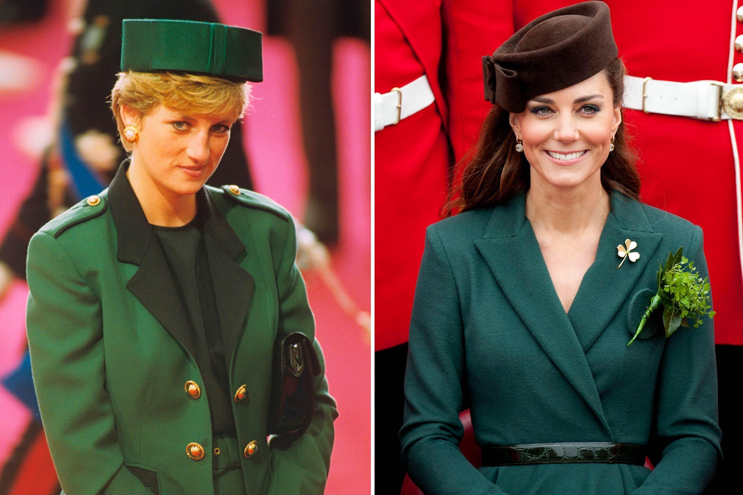 Kate et Diana et la mode du vert