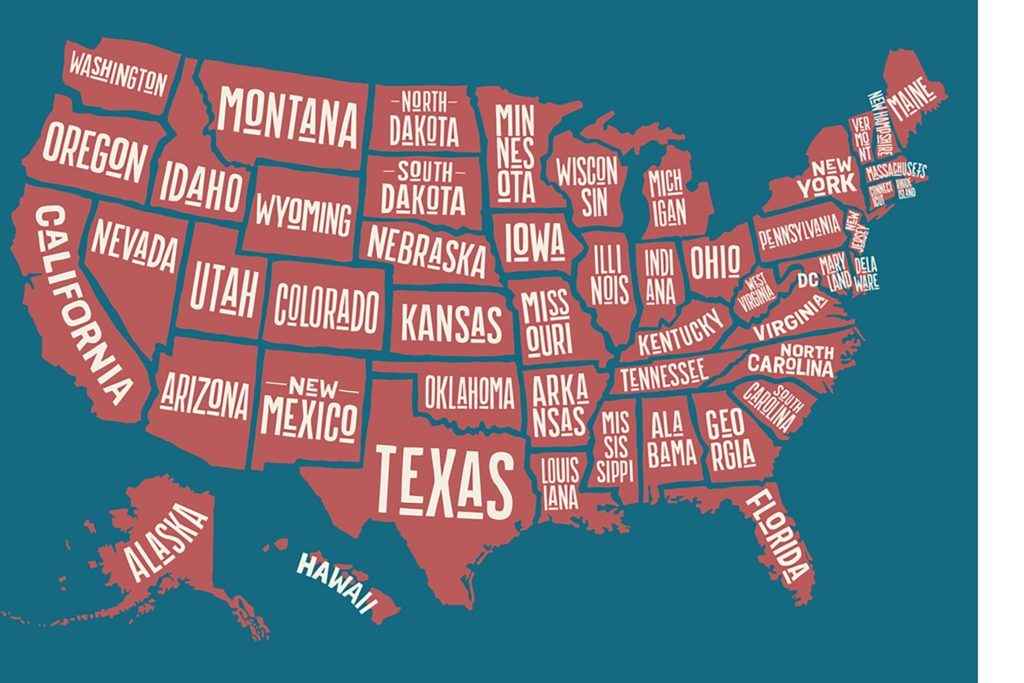 Can You Guess The One Letter Thats Not In Any US State Name - Us states map named